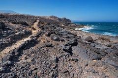 Malpais de Guimar, badlands volcanic landscape in Tenerife, Canary island, Spain. Royalty Free Stock Photo