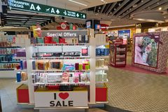 Malpensa Airport. MILAN MALPENSA, ITALY - CIRCA NOVEMBER, 2017: goods on display at Milan-Malpensa airport Royalty Free Stock Photography