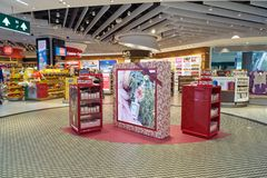 Malpensa Airport. MILAN MALPENSA, ITALY - CIRCA NOVEMBER, 2017: goods on display at Milan-Malpensa airport Stock Image
