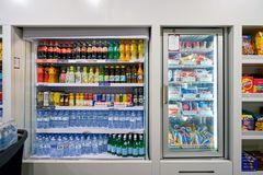 Malpensa Airport. MILAN MALPENSA, ITALY - CIRCA NOVEMBER, 2017: icecream and beverages on display at Milan-Malpensa airport Royalty Free Stock Photography