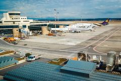 Milan Malpensa Airport. MALPENSA, MILANO, ITALY - JANUARY 20, 2015: View of Milan Malpensa Airport. It is the biggest airport for Milan area, Italy Stock Photography