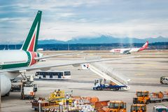Milan Malpensa Airport. MALPENSA, MILANO, ITALY - JANUARY 20, 2015: View of Milan Malpensa Airport. It is the biggest airport for Milan area, Italy Royalty Free Stock Image