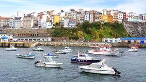 Malpica口岸, La拉科鲁尼亚队,西班牙 免版税图库摄影