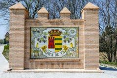 Malpica de Tajo. Spain - March 14, 2016: Signal Indicator city road, , a Spanish population of the province of Toledo in the Castilla-La Mancha Royalty Free Stock Photo