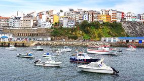 Malpica port, La Coruna, Spanien Royaltyfri Fotografi