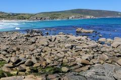 Malpica. Rocky coast at Malpica de Bergantinos, a fishing village at the Costa da Morte in Galicia, Spain Royalty Free Stock Image