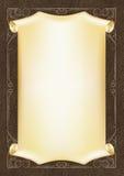 Malplaatje, achtergrond met een gouden kader en rol op stuk van donker leer Stock Fotografie