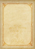 Malplaatje, achtergrond met een kader en decoratief element op stuk van perkament Royalty-vrije Stock Afbeelding