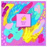 Malplaatje artistieke met de hand gemaakte abstracte achtergrond in roze blauwe gele kleuren Stock Afbeelding