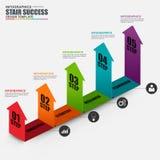 Malplaatje Infographic van het bedrijfs het isometrische pijl vectorontwerp stock illustratie