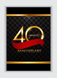 Malplaatje 40 Jaar Verjaardagsgelukwensen Vectorillustratio Stock Foto's