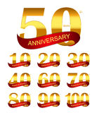 Malplaatje Logo Set Anniversary Vector Illustration Stock Foto's