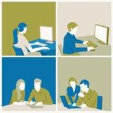 Malplaatje met beeldverhaal bedrijfsmensen stock illustratie