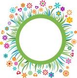 Malplaatje met bloemengrens - 4 royalty-vrije illustratie