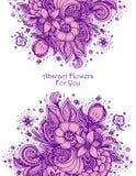 Malplaatje met de Mooie abstracte sering van het bloemenboeket op wit royalty-vrije illustratie