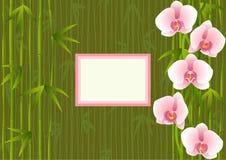 Malplaatje met het bamboe van het orchideeëneind Royalty-vrije Stock Foto