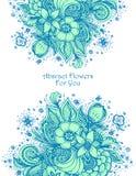 Malplaatje met het Mooie abstracte blauw van het bloemenboeket op wit vector illustratie