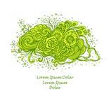 Malplaatje met Mooi abstract marien bloemenboeket in groene geel op wit royalty-vrije illustratie