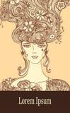 Malplaatje met Mooi Meisje met bloemenhaar in beige bruine kleuren royalty-vrije illustratie