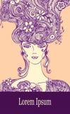 Malplaatje met Mooi Meisje met bloemenhaar in beige lilac kleuren stock illustratie