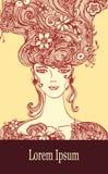Malplaatje met Mooi Meisje met bloemenhaar in beige roodbruine kleuren vector illustratie