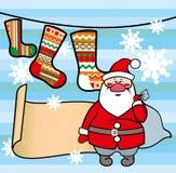 Malplaatje met Santa Claus en sokken Stock Afbeeldingen