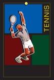Malplaatje met tennisserver Stock Afbeeldingen