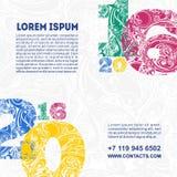 Malplaatje met veelkleurige decoratieve cijfers 2016 Stock Afbeelding