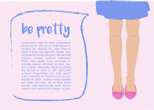 Malplaatje met Vrouwenbenen en Toespraakbel Royalty-vrije Stock Foto