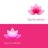 Malplaatje twee met de elementen van de lotusbloembloem Stock Afbeeldingen