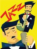 Malplaatje van affiche voor het overleg van de jazzmuziek De mens speelt de saxofoon, zingt de zanger in de microfoon Vector vector illustratie
