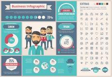 Malplaatje van bedrijfs het vlakke ontwerpinfographic Stock Fotografie