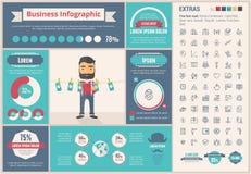 Malplaatje van bedrijfs het vlakke ontwerpinfographic Stock Foto's