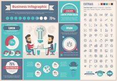 Malplaatje van bedrijfs het vlakke ontwerpinfographic Stock Foto