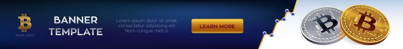 Malplaatje van de Cryptocurrency het editable banner Bitcoin 3D isometrisch Fysiek beetjemuntstuk Gouden en zilveren bitcoins Vec Royalty-vrije Illustratie