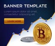 Malplaatje van de Cryptocurrency het editable banner Bitcoin 3D isometrisch Fysiek beetjemuntstuk Gouden en zilveren bitcoins Vec Stock Foto's