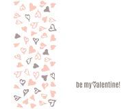 Malplaatje van de de Dagkrabbel van Vecto het Gelukkige Valentijnskaarten met hand getrokken zwart en roze hartenpatroon Stock Fotografie