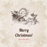 Malplaatje van de de gravurestijl van Kerstmissanta new year handdrawn Stock Afbeeldingen
