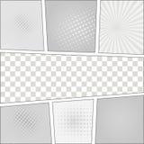 Malplaatje van de de stijl het lege lay-out van het strippaginapop-art met Stock Fotografie