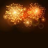 Malplaatje van de de vakantieviering van het vuurwerk het nieuwe jaar Vectorvuurwerkvlam Carnaval royalty-vrije illustratie