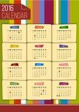 Malplaatje van de Editable het grappige 2016 kalender Royalty-vrije Stock Afbeeldingen