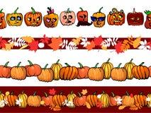 Malplaatje van de het patroongrens van het de herfstkader het naadloze met pompoenen en geplaatste dalingsbladeren Stock Afbeelding