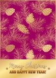 Malplaatje van de kaart van de vakantiegroet met gouden pijnboomkant Royalty-vrije Stock Foto's