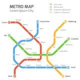 Malplaatje van de metro het vectorkaart Stadsmetro vervoersregeling Stock Fotografie