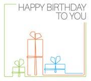 Malplaatje van de verjaardags het minimalistic kaart Stock Afbeelding