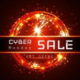 Malplaatje van de de Verkoop het vectorbanner van de Cybermaandag royalty-vrije illustratie