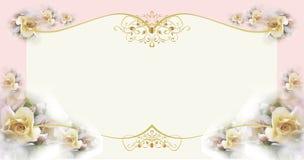 Malplaatje van gift of huwelijkskaart met bloemen en gouden decoratie Royalty-vrije Stock Afbeelding