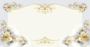 Malplaatje van gift of huwelijkskaart met bloemen en gouden decoratie Stock Foto's