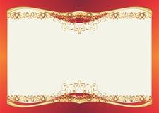 Malplaatje van gift of huwelijkskaart met gouden decoratie Stock Foto's