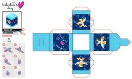 Malplaatje van heldere doos met nieuwe cupido's vectortekening royalty-vrije illustratie